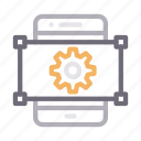 creative, gear, mobile, phone, setting icon
