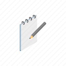 blog, book, isometric, note, notebook, pencil, sketchbook icon