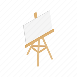 blank, blog, board, easel, isometric, paper, stand icon