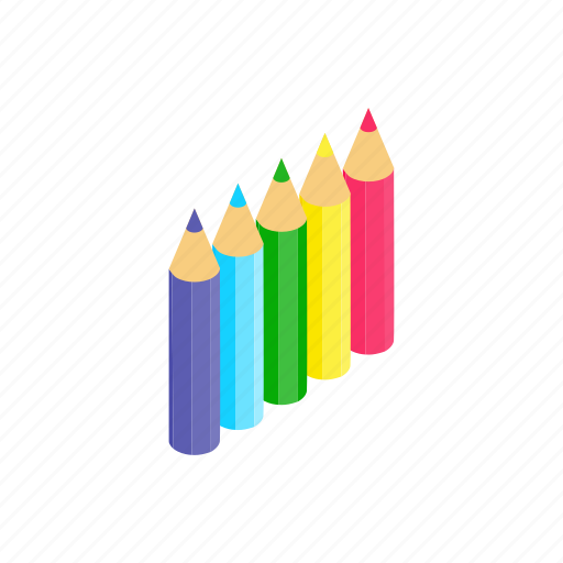 blog, colored, isometric, pencil, rainbow, school, wood icon