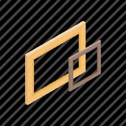 blank, blog, empty, frame, isometric, wood, wooden icon