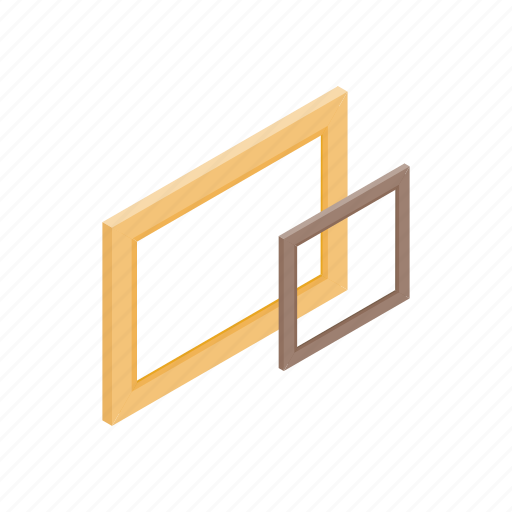 Isometric, wooden, frame, blog, wood, blank, empty icon