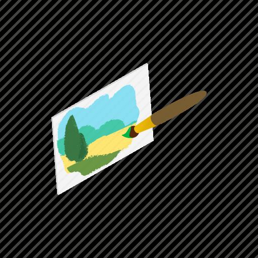 blog, brush, drawing, isometric, landscape, nature, paint icon