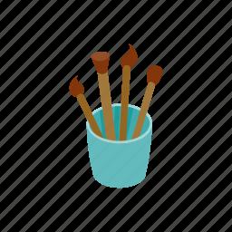 art, blog, brushes, drawing, glass, isometric, paint icon