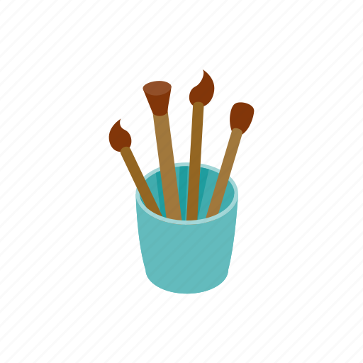 Isometric, art, glass, brushes, blog, paint, drawing icon
