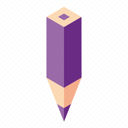 color pencil, isometry, pencil, purple icon