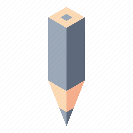 color pencil, gray, isometry, pencil icon
