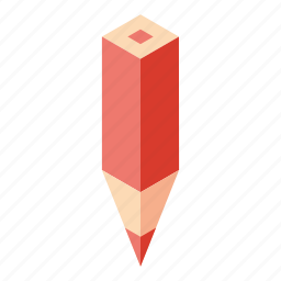color pencil, isometry, pencil, red icon