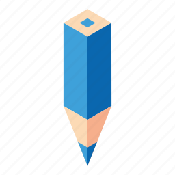 blue, color pencil, cyan, isometry, pencil icon