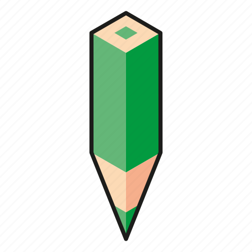 color pencil, green, line, pencil icon