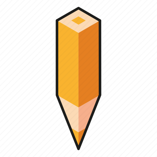color pencil, isometry, pencil, yellow icon
