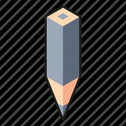 color pencil, gray, isometric, line, pencil icon