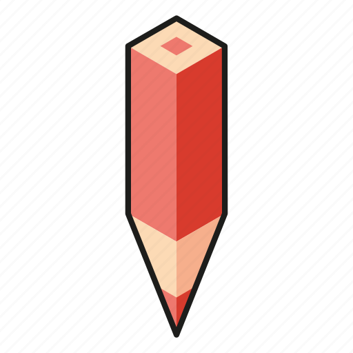 color pencil, isometric, line, pencil, red icon