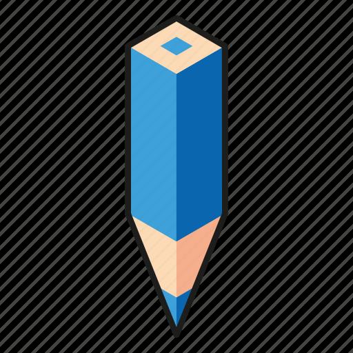 blue, color pencil, cyan, isometric, line art, pencil icon