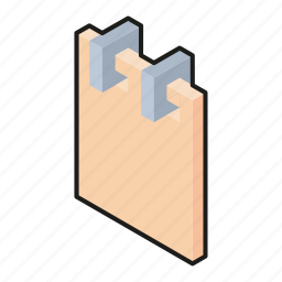 isometric, line art, notebook, notes icon