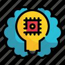 brain, bulb, chip, artificial, intelligence, idea