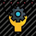 bulb, gear, ai, intelligence, artificial, setting, cog