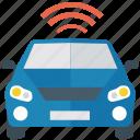 autonomous car, car with wifi, connected car, driverless car, self driving car, smart car, wifi car icon
