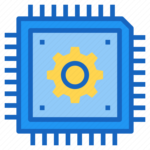 ai, artificial, chip, gear, intelligence icon