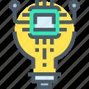 connect, idea, intelligence, robot, technology, think icon