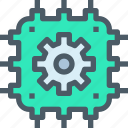 artificial, computer, gear, intelligence, process, technology icon