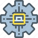 artificial, gear, intelligence, process, technology icon
