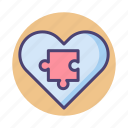 behavior, emergent, heart, puzzle icon