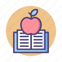 apple, book, knowledge, study