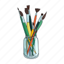 bank, brush, drawing, glass, set, tool icon