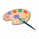 palette, art, tool, multicolored, paint, artistic, brush