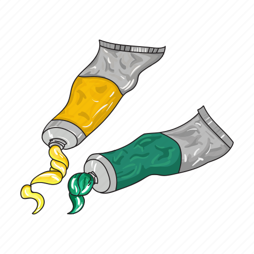 Drawing, green, oil, paint, tube, watercolor, yellow icon - Download on Iconfinder