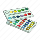 art, box, gouache, multi-colored, paint, set, watercolor icon