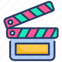 action, action clapper, clapper, clapperboard, interaction icon