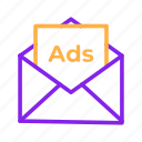 ads, advertisement, advertising, email, letter, marketing icon