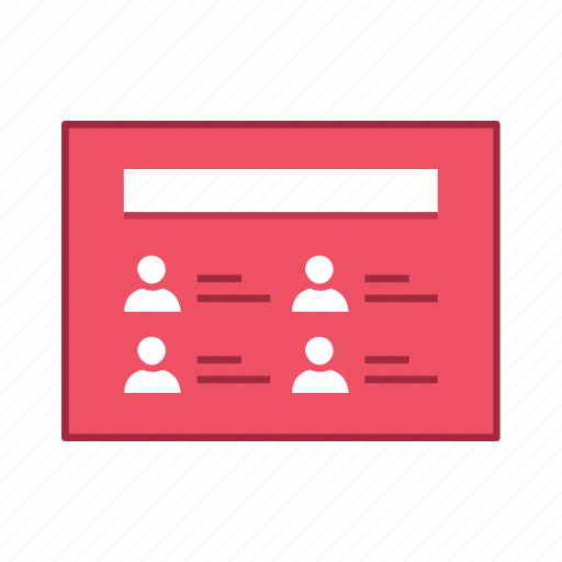 layout, list, people, presentation, template, ui, user interface icon