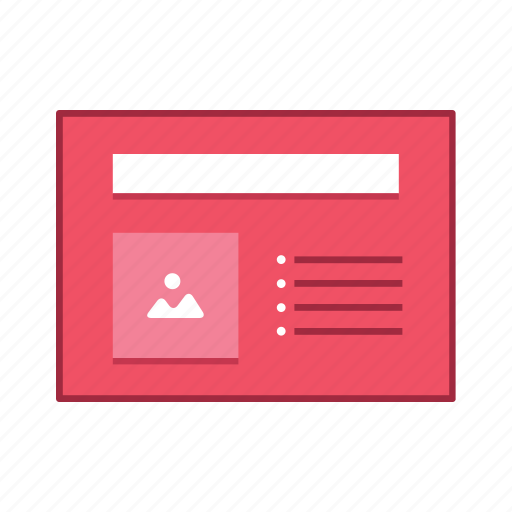 image, layout, list, presentation, template, ui, user interface icon