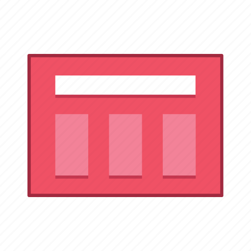 content, divided, layout, presentation, template, ui, user interface icon