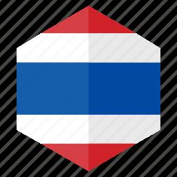 asia, country, design, flag, hexagon, thailand icon