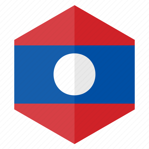 asia, country, design, flag, hexagon, laos icon