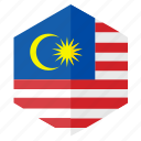 asia, country, design, flag, hexagon, malasia icon