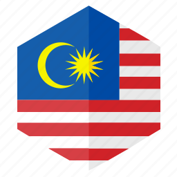 asia, country, design, flag, hexagon, malasia icon