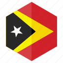 asia, country, design, flag, hexagon, timor leste icon