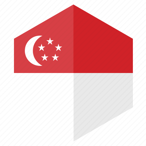 asia, country, design, flag, hexagon, singapore icon