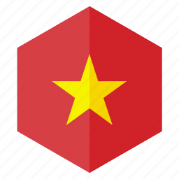 asia, country, design, flag, hexagon, vietnam icon