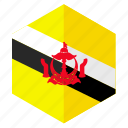 asia, brunei, country, design, flag, hexagon icon
