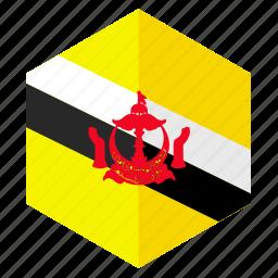 asia, brunei, country, design, flag, hexagon icon