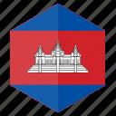asia, cambodia, country, design, flag, hexagon