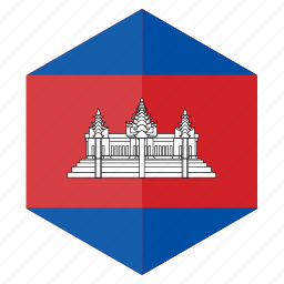 asia, cambodia, country, design, flag, hexagon icon