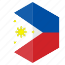 asia, country, design, flag, hexagon, philippines