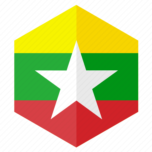asia, country, design, flag, hexagon, myanmar icon